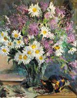 Vaso con margaritas de Eduardo Schlageter, pintor venezolano (1893-1974)
