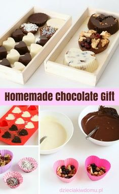 homemade chocolate gift /  pomysł na prezent na dzień mamy, dzień kobiet, dzień babci i dziadka Chocolate Hearts, Homemade Chocolate, A Food, Food And Drink, Cafe Art, Christmas Treats, Food Truck, Projects For Kids, Food Photo