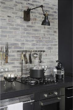 Gray Brick Backsplash Endearing Diy Whitewashed Faux Brick Backsplash  Faux Brick Backsplash Design Decoration