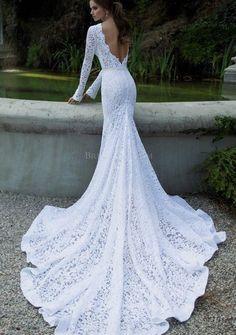 Vintage Lace Wedding Dresses Mermaid Long Sleeve Backless - elegantweddinginvites.com