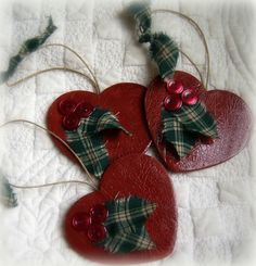 Handpainted Country Wood Heart Ornaments via DixieLivinChristmas :)