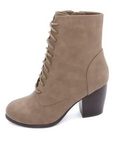 Chunky-Heeled Lace-Up Booties: Charlotte Russe