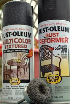 to repaint patio furniture.now I can make the very used patio furniture I got look great!How to repaint patio furniture.now I can make the very used patio furniture I got look great! Patio Furniture Redo, Metal Furniture, Furniture Projects, Garden Furniture, Painted Furniture, Recycled Furniture, Furniture Repair, Painting Patio Furniture, Redoing Furniture
