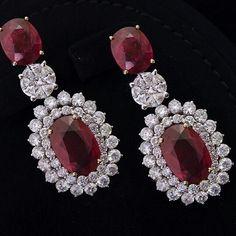 Elegant ruby earrings with diamonds @alfaresjewellery Via @jewelryjournal