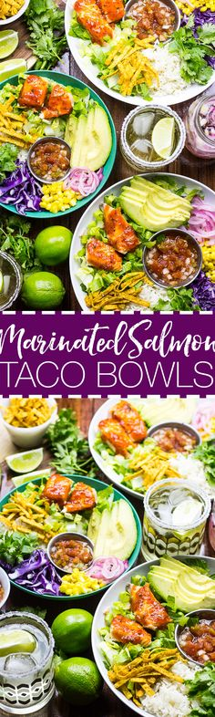 These Chili Lime & Ginger Salmon Taco Bowls | 30 min dinner idea | Gluten free