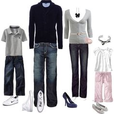 gray, navy and pink palette. No khaki and denim matching outfits here!