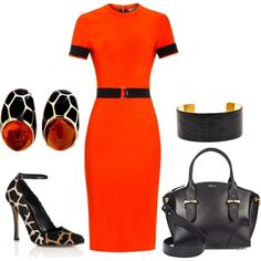 Orange Giraffe by romaboots-1 on Polyvore featuring Thierry Mugler, Derek Lam, Alexander McQueen and Fornash
