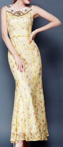 Bead Embellished Sleeveless Long Flared-Hem Dress in Gold