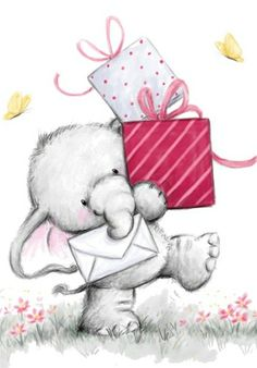 Bella with Presents by Wild Rose Studio