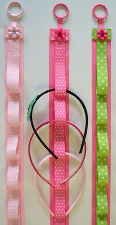 head band holder... could attach hair clips to ribbon loops too.  Must make these!