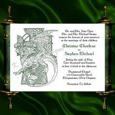 Dragon Invitation  RSVP   Celtic Dragon by KateTaylorDesigns, $1.65