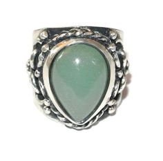 Buy Sterling and Jade Ring. Vintage STERLING Silver Jade Drop Ring, Size 9, FREE SHIPPING by colorsofthesouthwest. Explore more products on http://colorsofthesouthwest.etsy.com
