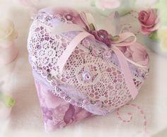 Heart Sachet 5 inch Sachet Heart Lilac Lavender por CharlotteStyle