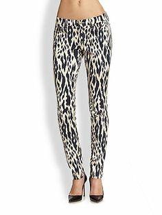 7 For All Mankind - Animal-Print Skinny Jeans - Saks.com D40 -190