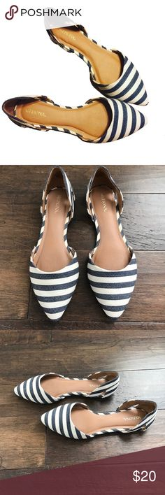 Striped Dorsey Flats Navy & White stripes Dorsey Flats!! Merona Shoes Flats & Loafers