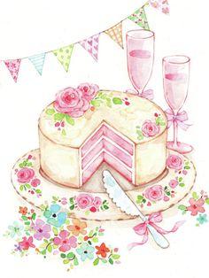 Beautiful drawings by Liz Yee on      http://www.advocate-art.com/artist.liz-yee#/                                                           Liz Yee - Female Birthday Cake