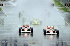 1989 - Australian Grand Prix - The McLaren of Ayrton Senna leads the race from Alain Prost in the rain Albert Park Melbourne, Alain Prost, Australian Grand Prix, Mclaren Mp4, The 5th Of November, Poster Size Prints, Racing, Canvas Prints, World