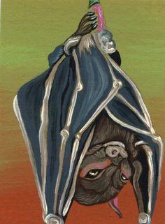 ACEO ATC  Bat Original Wildlife Art Carla Smale
