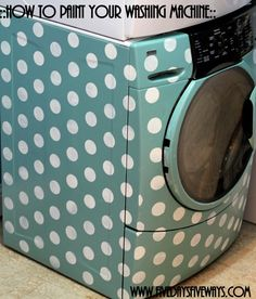 The laundry room has been a sticking point as we put together out house. It was such a cramped, cluttered nightmare that no one would want to see. U to the G-L-Y. BUT NOW, thanks to a polka dot stencil and some turquoise paint, my much-prettier washer and dryer are leading the way in laundry beautification.