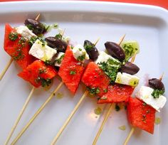 WATERMELON FETA SKEWERS ARE EASY AS 1, 2, 3 / No joke..watermelon is so yum with feta cheese.. I eat it during summer..