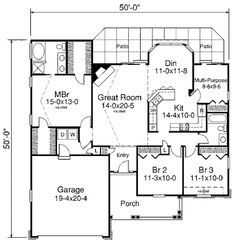 1580sf (50x50) stair placement where W/D and closet is, closet over down stair section. multipurpose room to W/D, freezer/pantry. BR2 pulled out to porch for game. or join BR2&3, walk-in/shelving btw entry/2, no closet on side for game=18x12
