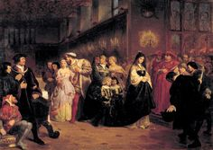 Emanuel Gottlieb Leutze, (1816-1868). German American painter. The Courtship of Anne Boleyn 1846. Anne and Henry are making their way through the hall causing a stir, while centre right Catherine of Aragon is just ahead. She is the main figure in the painting and it shows her as a sympathetic, loyal and faithful character who was betrayed and humiliated by her husband. Cardinal Wolsey can also be seen in this painting to the right of Catherine of Aragon.