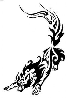 Wolf Tribal Tattoo Sample