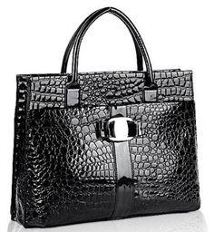 55caed7059 Chic Black MAXX Crocodile Print PU Patent Leather Office Tote Top Handle Satchel  Handbag Briefcase Purse