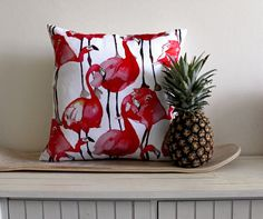 Love! Watercolour Flamingos // Cushion Cover // 45 x 45cm // Watermelon Pink $56