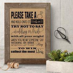 Take a Ring game, Bridal Shower game, printable bridal shower activity, rustic party games, Bridal Shower Ring Game Rustic Wedding Games, Wedding Shower Games, Wedding Ideas, Wedding Stuff, Dream Wedding, Budget Wedding, Wedding Signs, Wedding Decorations, Bridal Shower Activities