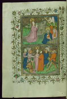 Book of Hours (Cistercian) Top: Agony in the Garden; Bottom: Betrayal and Arrest Walters Manuscript W.218 fol. 20v by Walters Art Museum Illuminated Manuscripts