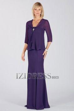 Sheath/Column Strapless Chiffon Mother of the Bride Dress - IZIDRESS.com at IZIDRESS.com