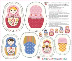 Easy Matryoshka fabric by maeli on Spoonflower - custom fabric Matryoshka Doll, Kokeshi Dolls, Fabric Dolls, Paper Dolls, Plush Pattern, Plush Dolls, Rag Dolls, Diy Doll, Custom Fabric