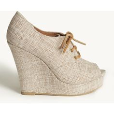 Ruffle Wedge In Natural Burlap By Bc Footwear ($75) found on Polyvore