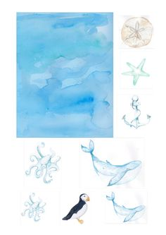 Download our nautical free printables for your papercraft projects. With seascapes, shells, and cute marine animals, you can make lovely cards.