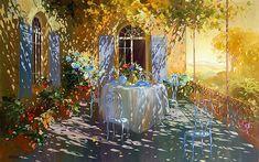 Tea on the terrace Watercolor Disney, Watercolor Art, Dappled Light, Garden Painting, Historical Art, Belleza Natural, French Artists, Light Art, Antique Art
