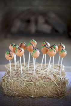 Loving these Cake Pops at Penelope's Perfect Pumpkin Birthday Party! See more at party ideas at CatachMyParty.com