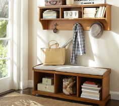 Samantha Entryway Collection | Pottery Barn The shelf painted/distressed for above the changing table?
