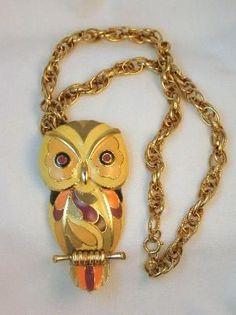 "Vintage Eisenberg Enamel Owl Necklace ""Artist Series"" 1970's"