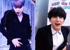 OMG MY TWO BIAS'S!! I can't even Jimin is ugh & Yoongi is ugh lmao I'm speechless! But Yoongi my main bias !!  Hehe.
