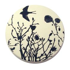 Whimsical garden print coaster by Ask Alice (part of a set of four).