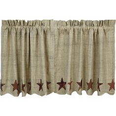 Abilene Star Scalloped Lined Tier Curtains 24""