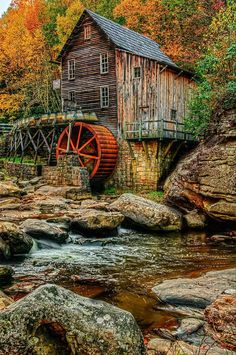 Autumn in the country, I think its WV Autumn Scenery, Autumn Theme, Village Photography, Water Mill, Fantasy Places, Autumn Cozy, Water Tower, Old Barns, Le Moulin