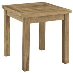Modway Pier Outdoor Patio Natural Teak Wood Small Side Table (Natural), Patio Furniture