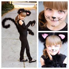 simple cat face painting ideas - feather boa for tail, hand bracelet and ears: Costume Halloween, Cat Halloween Makeup, Halloween Kids, Emoji Costume, Kids Cat Makeup, Unicorn Halloween, Cat Face Makeup, Halloween Parade, Halloween Birthday