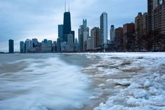 Winter in Chicago ~ frozen Lake Michigan Chicago Lake, Chicago Skyline, New York Skyline, Chicago Winter, My Kind Of Town, Lake Michigan, Mother Nature, Places To Travel, Around The Worlds