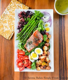 Salmon Nicoise Salad is an all time favorite healthy easy dinner salad recipe from Serena Bakes Simply From Scratch. Salmon Recipes, Fish Recipes, Seafood Recipes, Cooking Recipes, Cooking Pasta, Salad Recipes For Dinner, Dinner Salads, Salmon Nicoise Salad, Salade Nicoise Recipe