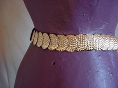 Vtg Metal Medallion Elastic Belt Gold tone Textured Stretch 24 to 40 inches #Unbranded