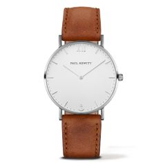 PAUL HEWITT Sailor Line Watch Silver White Sand Leather Nubuk Brown
