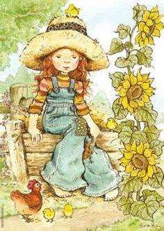 Desenhos Para Pinturas e Decoupage: Sarah Kay Sarah Key, Holly Hobbie, Garden Illustration, Cute Illustration, Vintage Drawing, Vintage Art, Australian Artists, Illustrations, Vintage Flowers